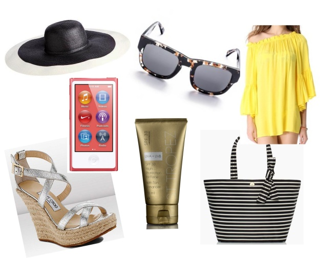 Clockwise: BCBG Max Azria @ Piperlime, Marshall Sunglasses @ Green With Envy, Vizx Swimwear Solid Judy Cover up @ Shopbop, Kate Spade Lisbeth Tote, St Tropez @ Asos, iPod Nanon @ Apple, Jimmy Choo Porto Espadrille Wedge