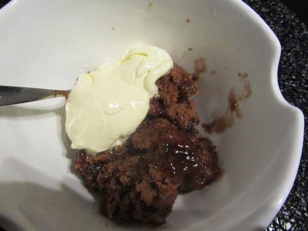 Grandma's self saucing pudding served with double cream