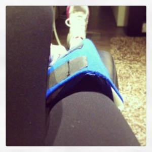 Icing my knee post cardio workout