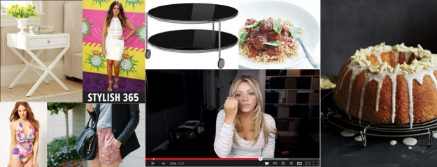 Clockwise: Houzz, Stylish 365, Ikea, Donna Hay, Food & Wine, Elle Bangs You Tube, Gal Meets Glam, Asos