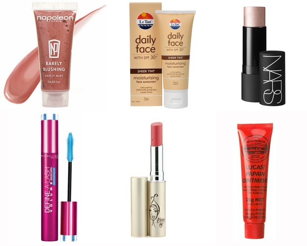 Colckwise: Napoleon Barely Blushing;  Le Tan Daily Face;  Nars  illuminator cream in Copacabana; Lucas' Papaw Ointment; Bloom Lip Tint in Veil; Maybelline Define-A-Lash waterproof mascara