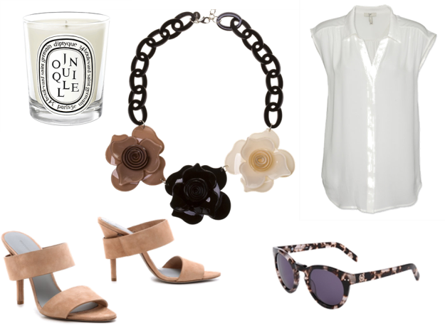 Clockwise: Diptyque Jonquille Candle_Mecca Cosmetica; Necklace_Lovisa; Blouse_Joie via Pollyvore; Sunglasses_House of Harlow; Shoes_Alexander Wang via Shopbop